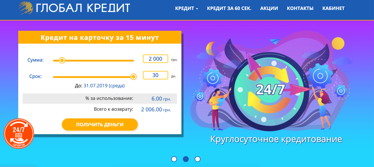 Вход в личный кабинет Globalcredit